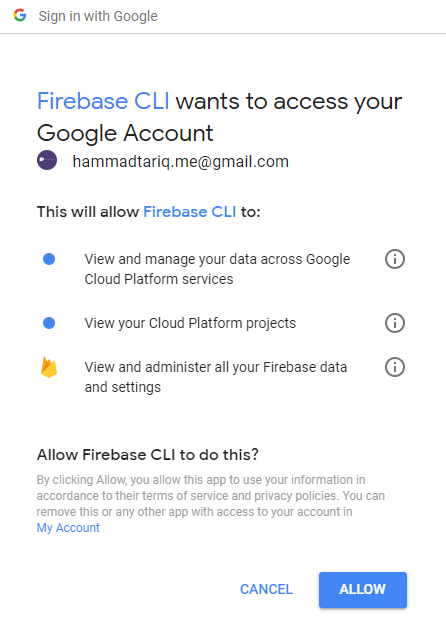 Authenticate Firebase hosting server account