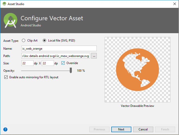 android studio import vector graphics