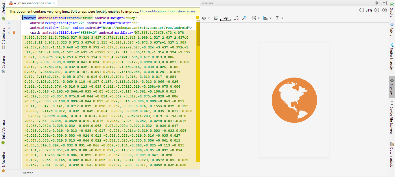 Vector Drawable XML Preview Android Studio